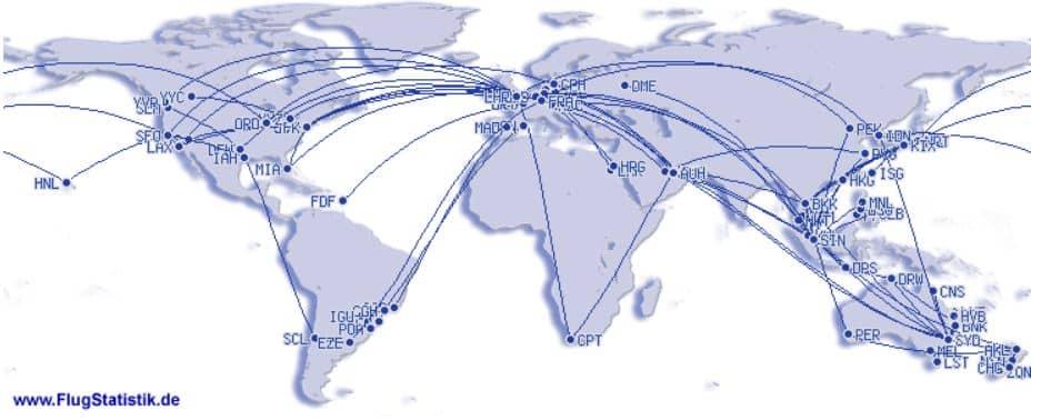 Flugstatistik Weltkarte