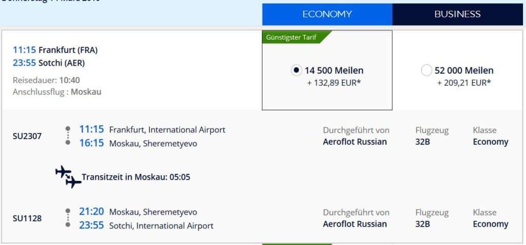 Flying Blue Prämienflug mit Aeroflot von Frankfurt nach Sotschi für 14.500 Flying Blue Meilen und 133€