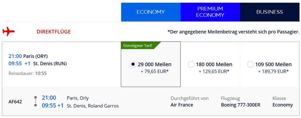 Flying Blue Prämienflug mit Air France von Paris nach La Reunion: 29.000 Flying Blue Meilen und 80€
