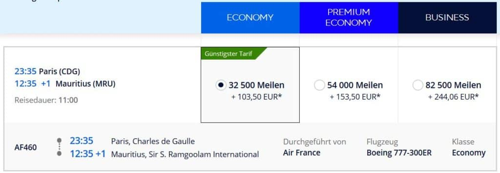 Flying Blue Prämienflug mit Air France von Paris nach Mauritius: 32.500 Flying Blue Meilen und 104€