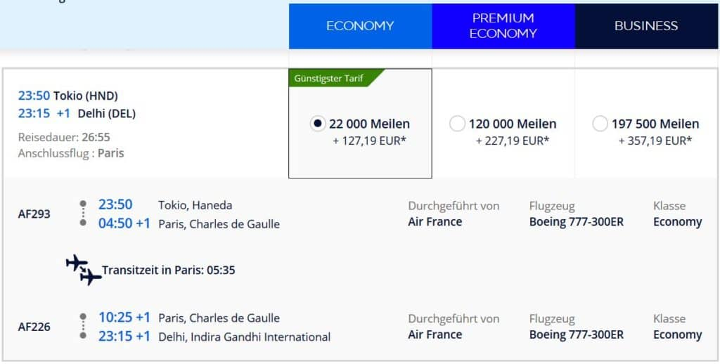 Für 22.000 Flying Blue Meilen in der Air France Economy Class von Tokio über Paris nach Delhi