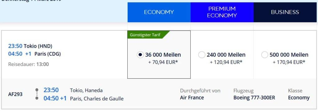 Für 22.000 Flying Blue Meilen in der Air France Economy Class von Tokio nach Paris