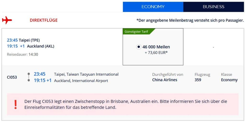 Für 46.000 Flying Blue Meilen in der China AIrlines Economy Class von Taipeh nach Auckland