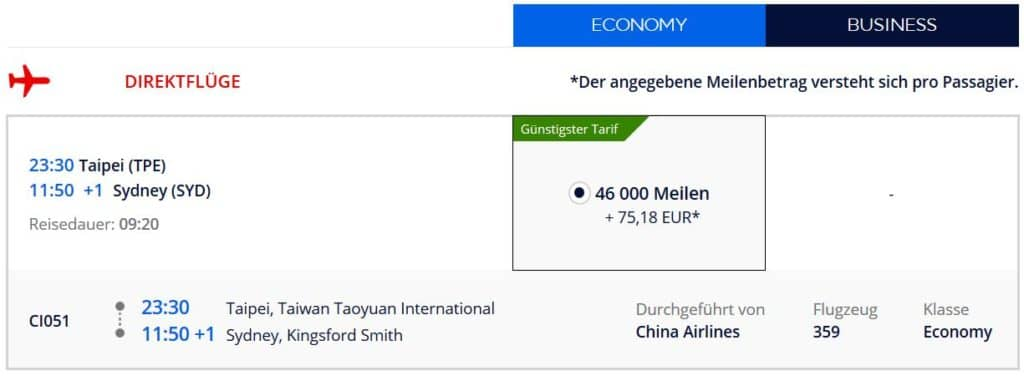 Für 46.000 Flying Blue Meilen in der China AIrlines Economy Class von Taipeh nach Sydney