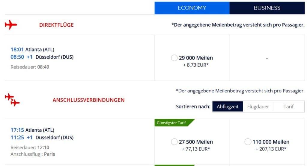 Flying Blue Prämienflug von Atlanta nach Düsseldorf: 29.000 Flying Blue Meilen und 9€