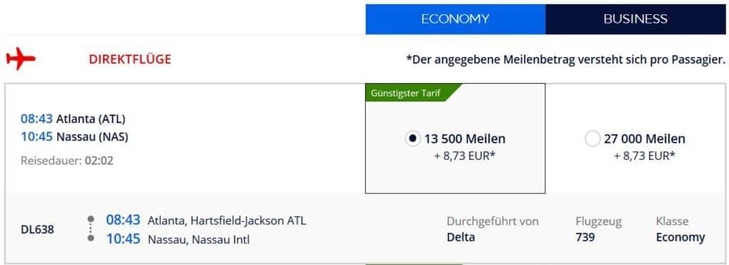Flying Blue Prämienflug von Atlanta nach Nassau (Bahamas): 13.500 Flying Blue Meilen und 9€
