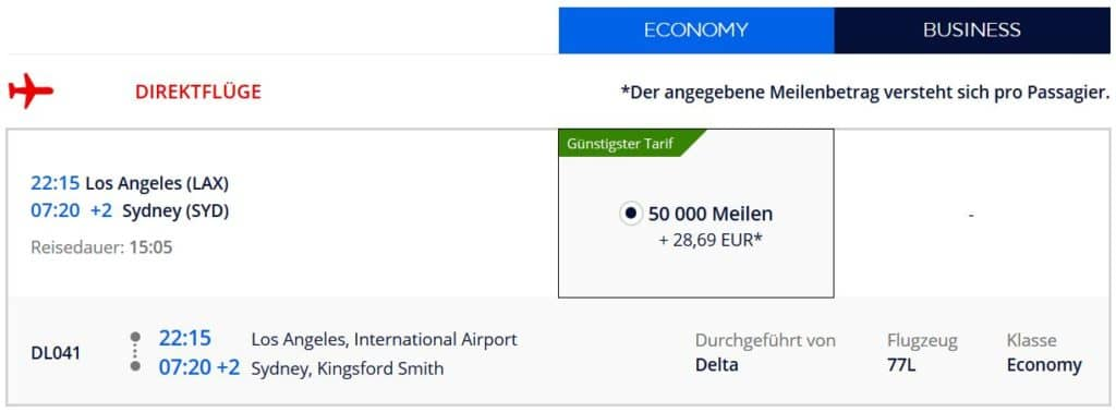 Für 50.000 Flying Blue Meilen in der Delta Economy Class von Los Angeles nach Sydney
