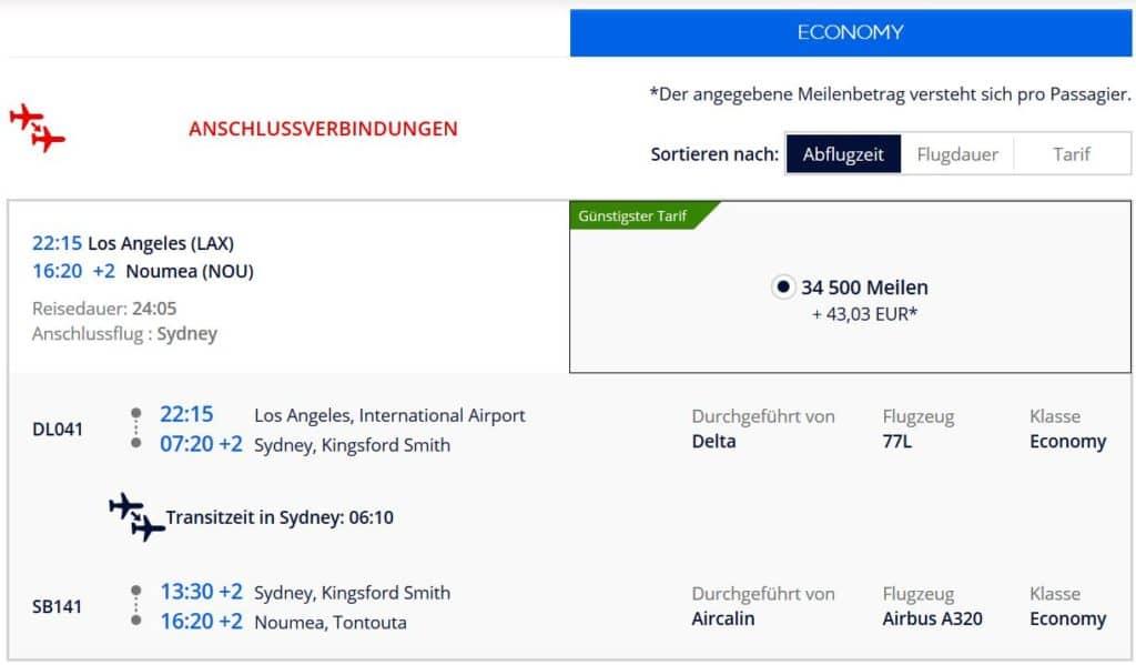 Für 50.000 Flying Blue Meilen in der Delta Economy Class von Los Angeles über Sydney nach Noumea