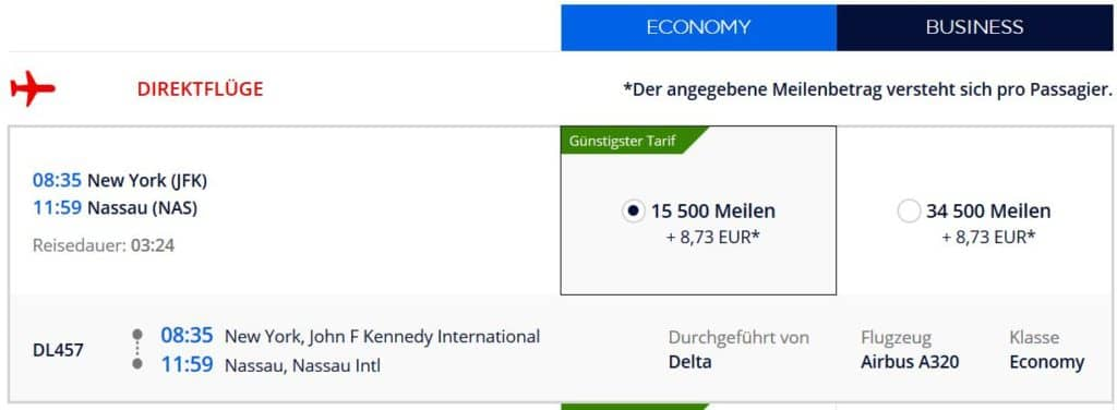 Flying Blue Prämienflug von New York nach Nassau (Bahamas): 13.500 Flying Blue Meilen und 9€