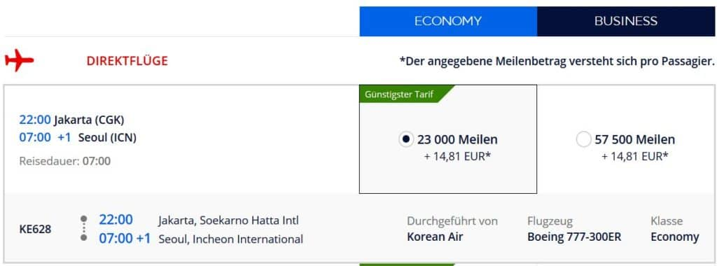 Für 57.500 Flying Blue Meilen in der Korean Air Business Class von Jakarta nach Seoul