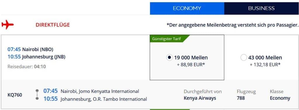 Für 19.000 Flying Blue Meilen in der Kenya Airways Economy Class von Nairobi nach Johannesburg