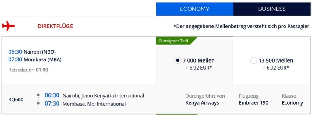 Für 7.000 Flying Blue Meilen in der Kenya Airways Economy Class von Nairobi nach Mombasa