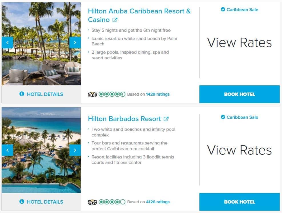 Hilton Caribbean Sale Beispiele