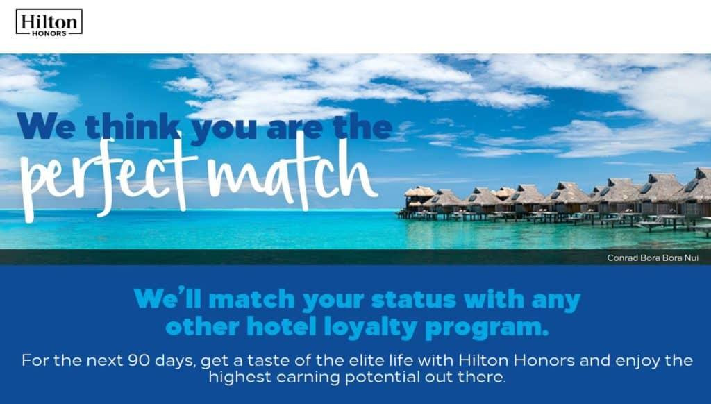 Hilton Honors Status Match - Gold & Diamond Challenge (gültig bis März 2020)