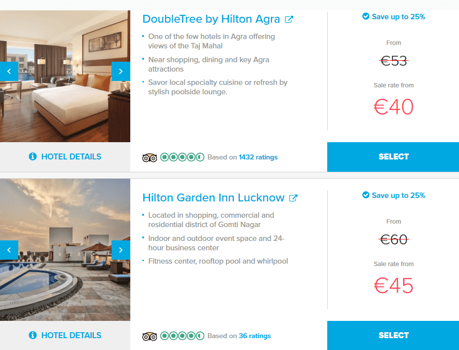Hilton India Summer Sale Beispiele