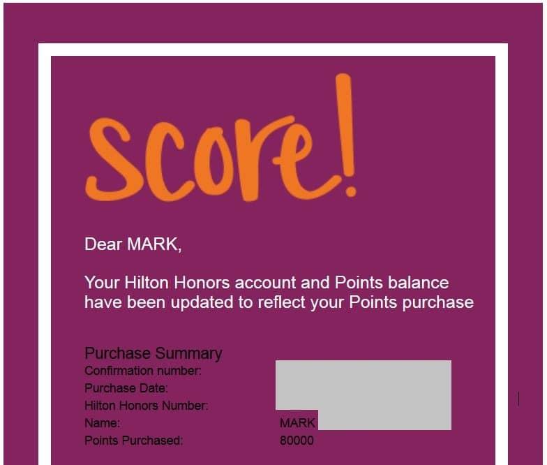 Hilton Punktekauf Kaufbestätigung