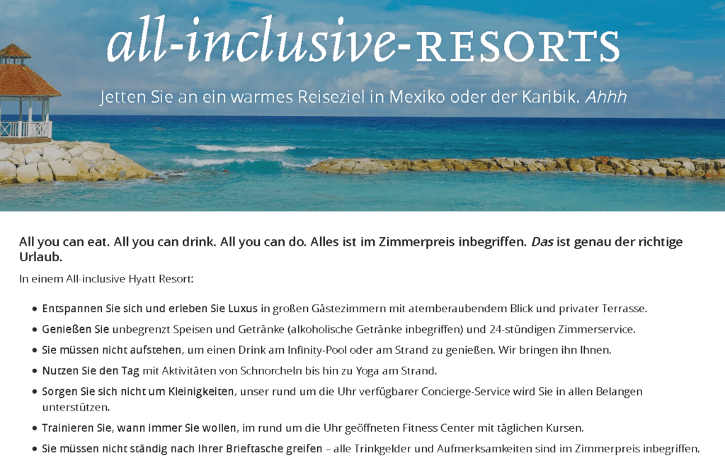 Hyatt Punkte einlösen All Inclusive Resorts