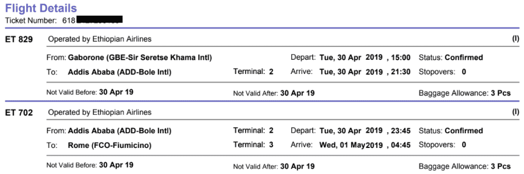 Typischer Aufbau eines IATA-Tickets inkl. Airline-Code, Airlines-Prefix und Flughafencodes