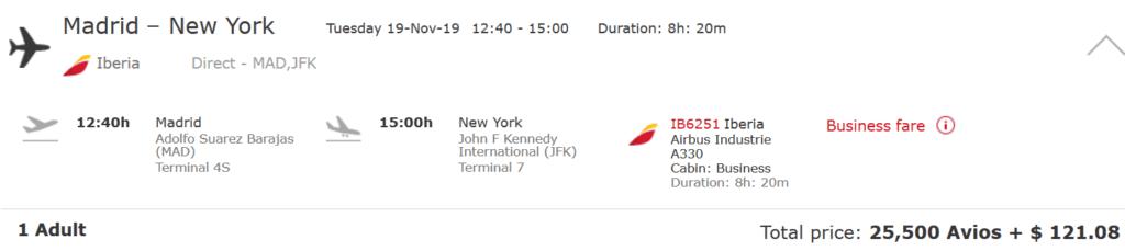 Iberia Business Class Flug von Madrid nach New York für 25.500 Avios und 121 USD