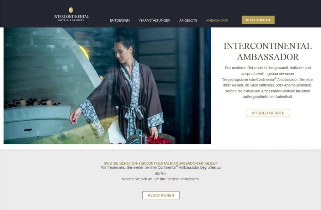 Der Intercontinental Ambassador ist ein gesonderter Status einer einzelnen Hotelmarke &copy IHG