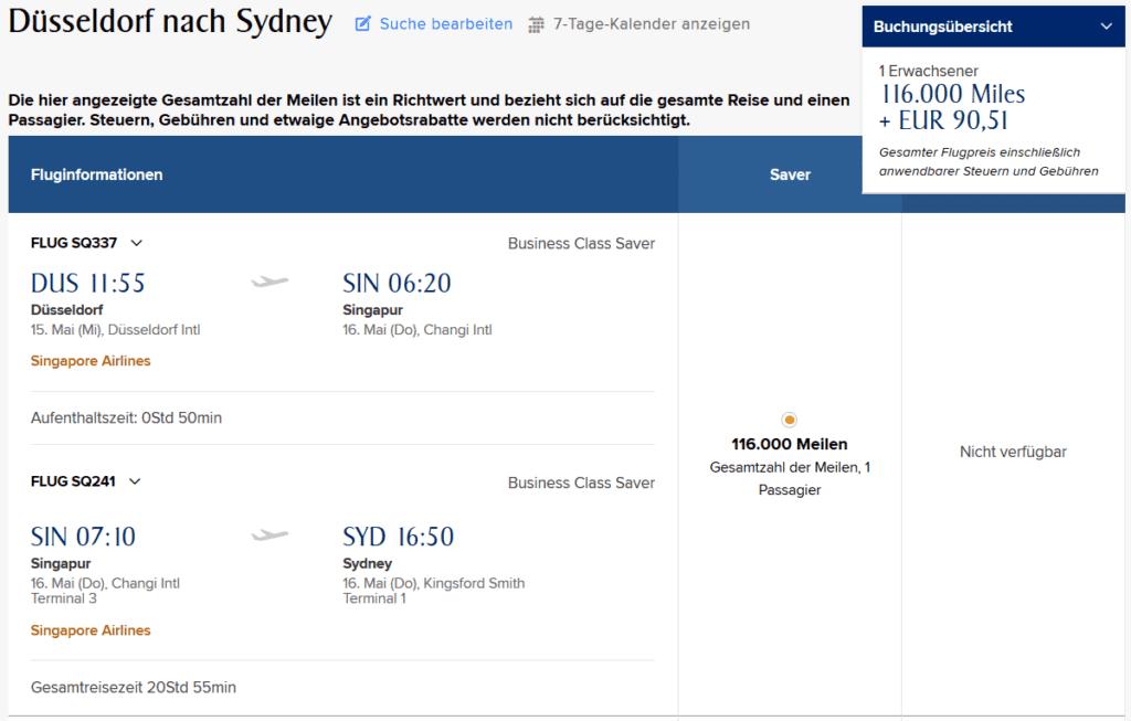 KrisFlyer Meilen einlösen: Singapore Airlines Business Class von Duesseldorf nach Sydney
