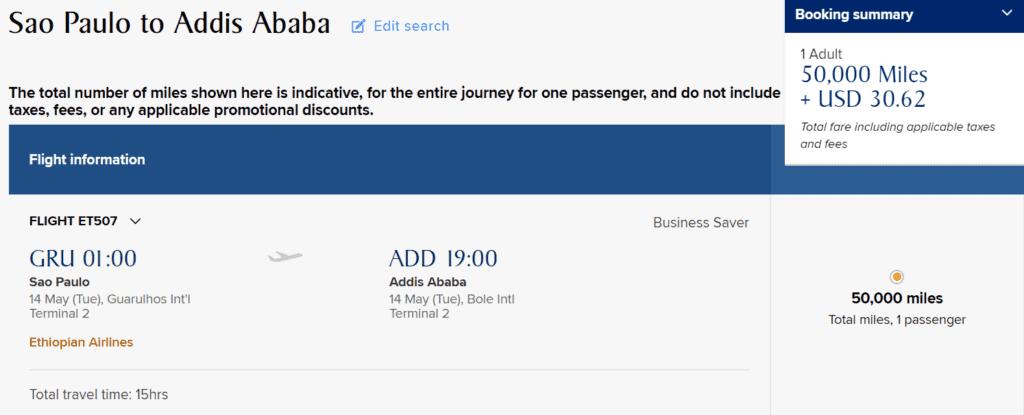 KrisFlyer Meilen einlösen: Ethiopian Business Class von Sao Paulo nach Addis Ababa
