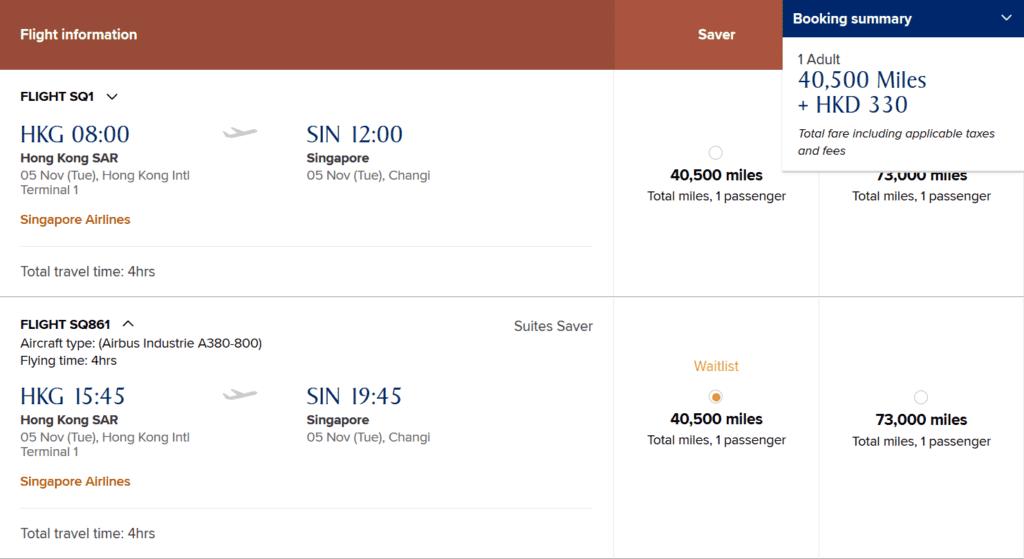 KrisFlyer Meilen einlösen: Singapore Airlines Suite von Hongkong nach Singapur