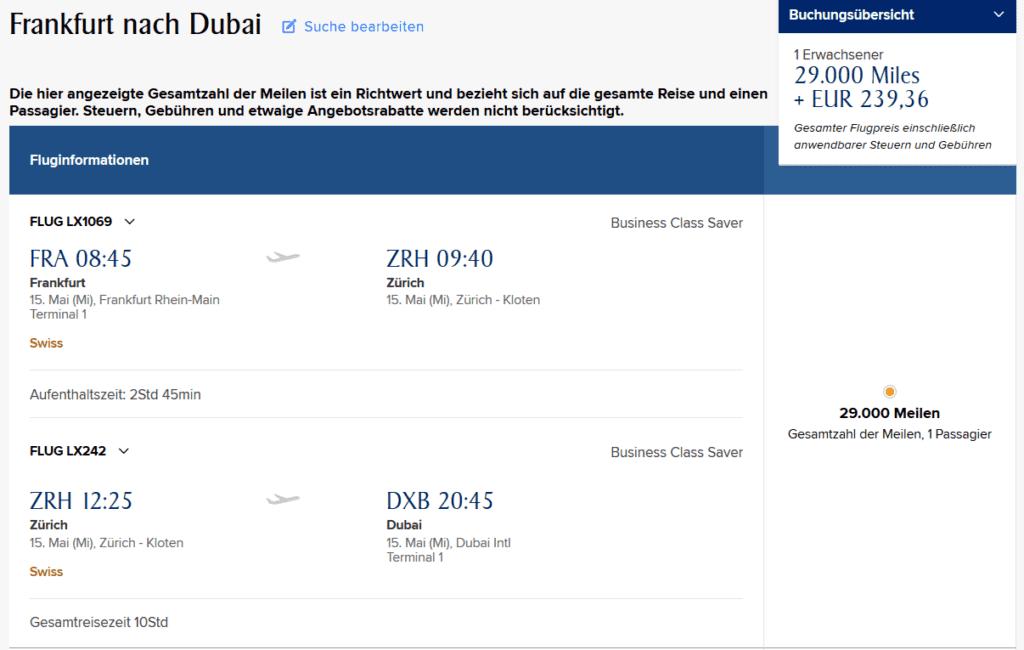 KrisFlyer Meilen einlösen: Swiss Business Class von Frankfurt nach Dubai