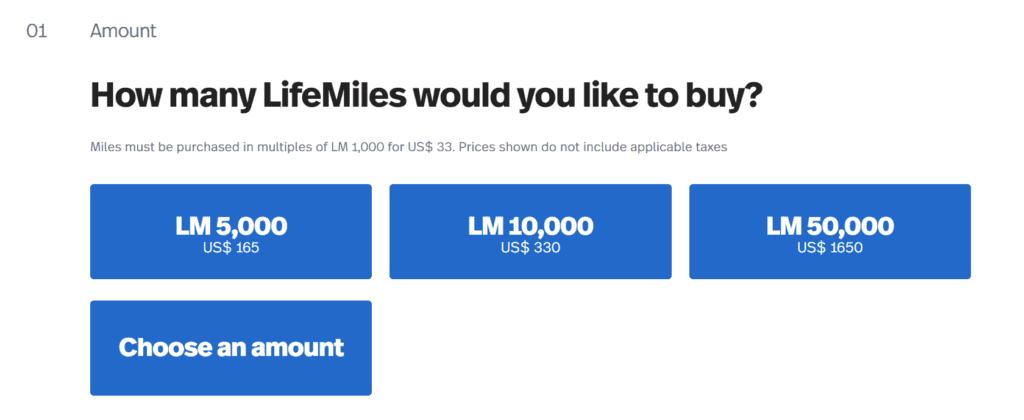 LifeMiles kaufen - Anzahl der Meilen bestimmen