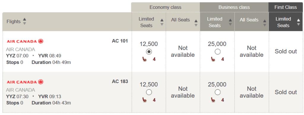 In der Air Canada Business Class von Toronto nach Vancouver für 25.000 LifeMiles und 47 USD
