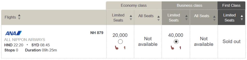 In der ANA Business Class von Tokio nach Sydney für 40.000 LifeMiles und 70 USD