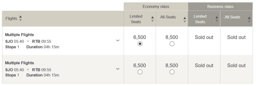 Für nur 6.500 LifeMiles und 47 USD von Lima über San Salvador nach Roatan