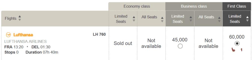 In der Lufthansa First Class von Frankfurt nach Delhi für 60.000 LifeMiles und 122 USD