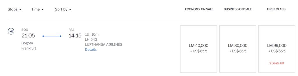 Steuern und Gebühren auf Prämienflügen bei LifeMiles mit Lufthansa von Bogota nach Frankfurt