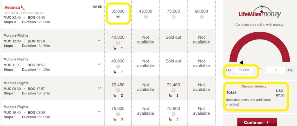 Flugabfrage ohne Nutzung der LifeMiles+Money Funktion