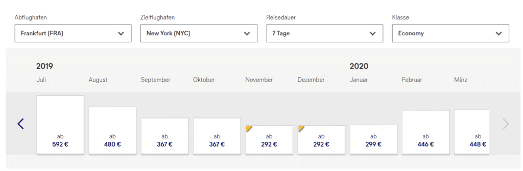 Lufthansa Bestpreissuche Frankfurt - New York