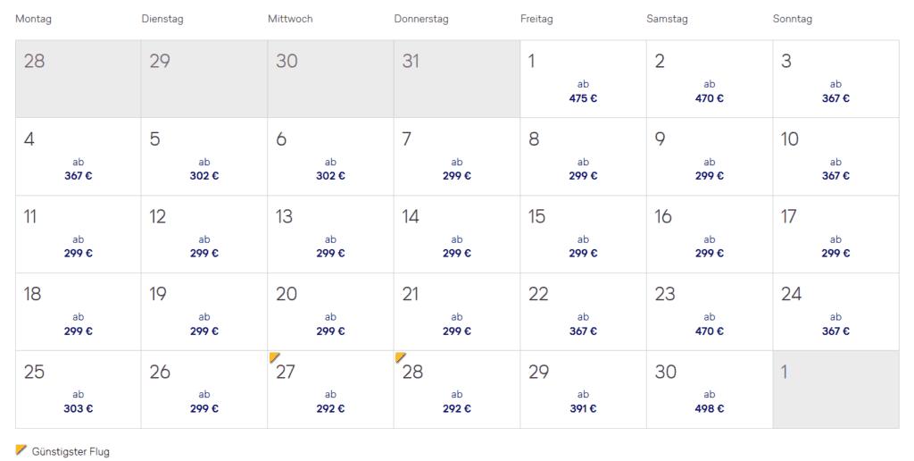 Lufthansa Bestpreissuche Kalender