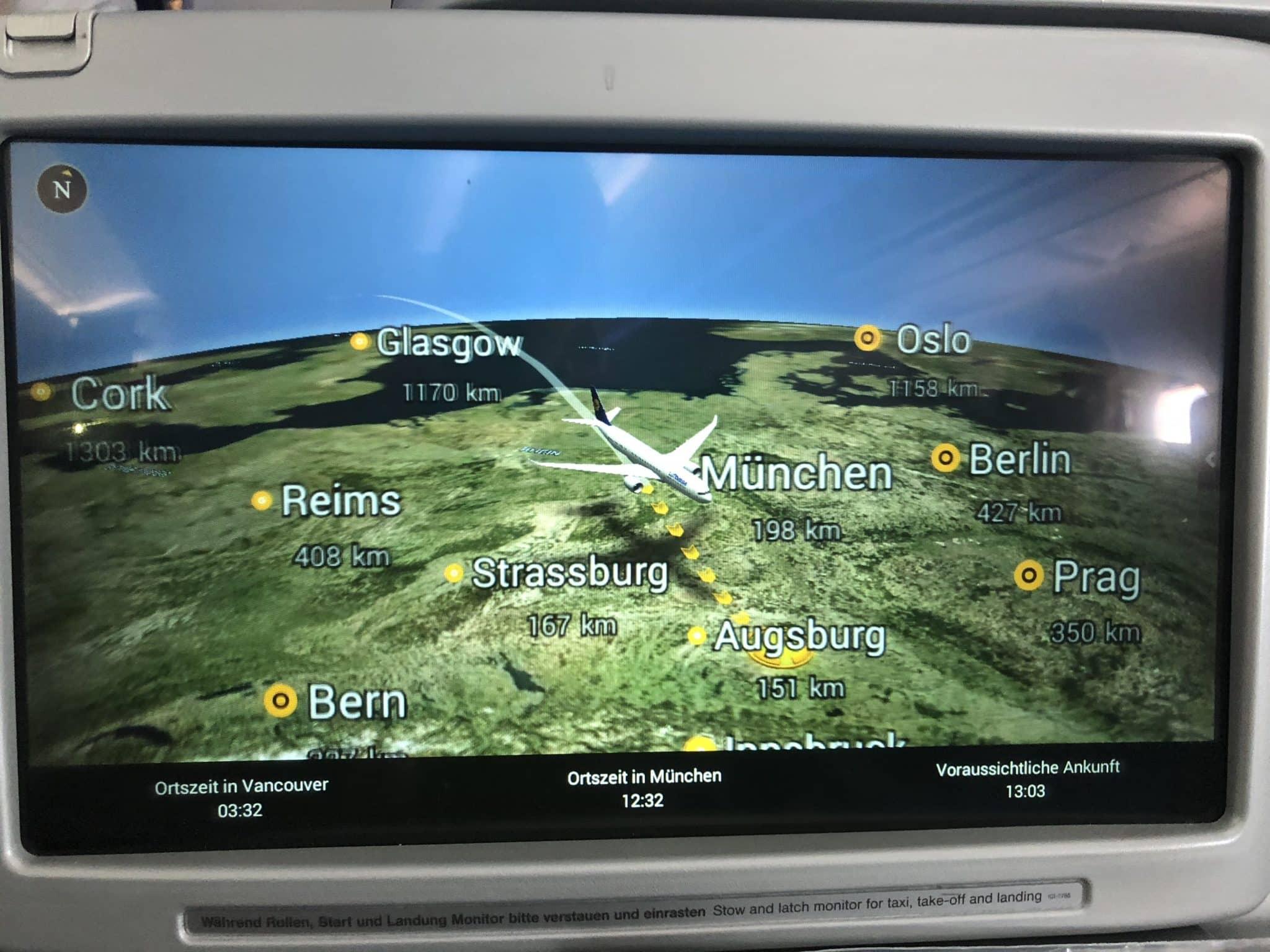 Lufthansa Business Class A350 Anflug