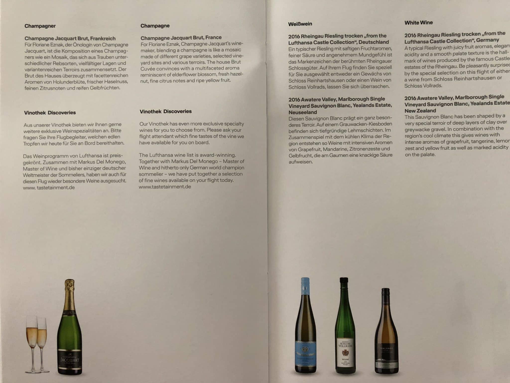 Lufthansa Business Class A350 Wein Champagner
