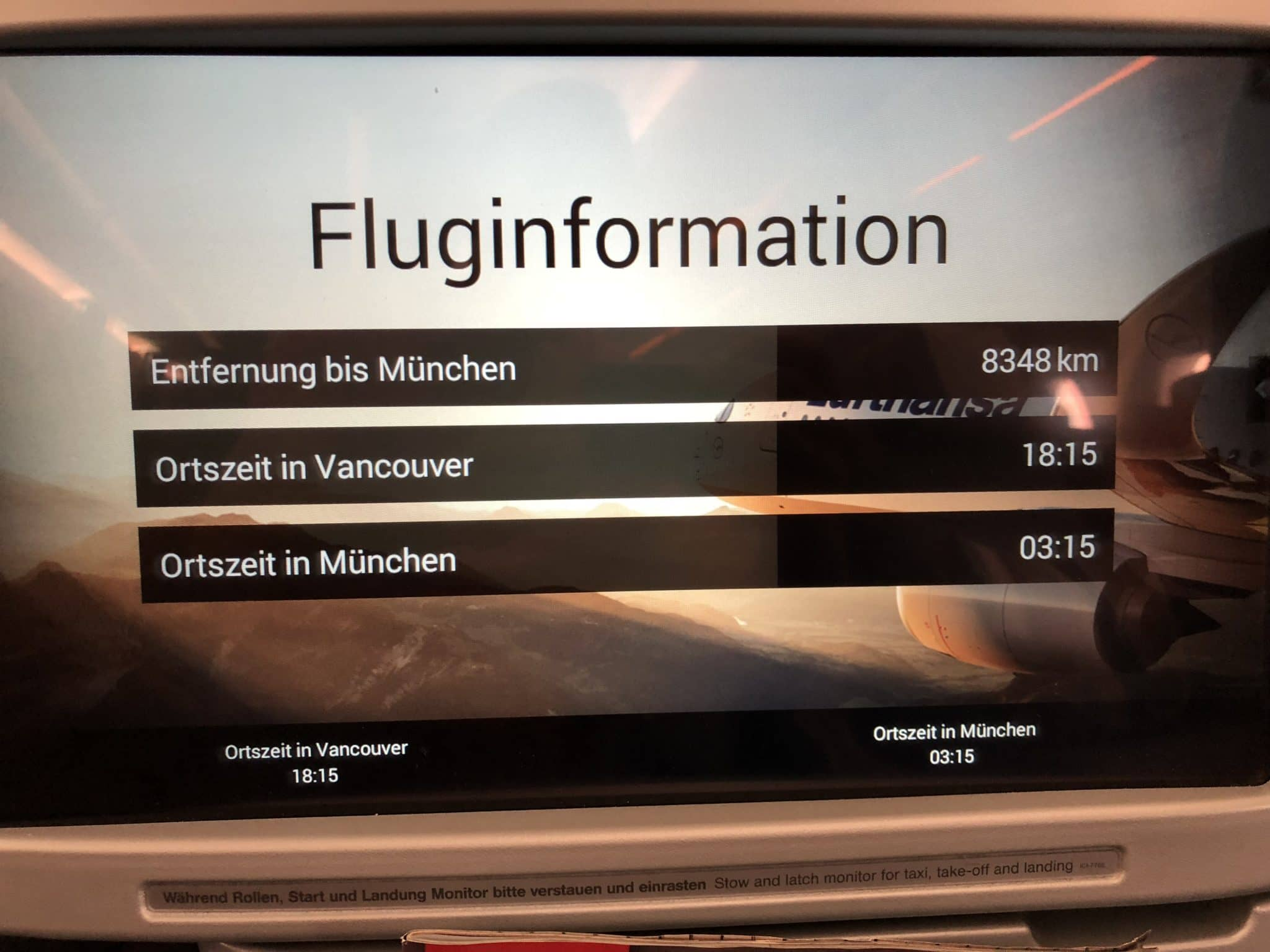 Lufthansa Business Class A350 Fluginformation