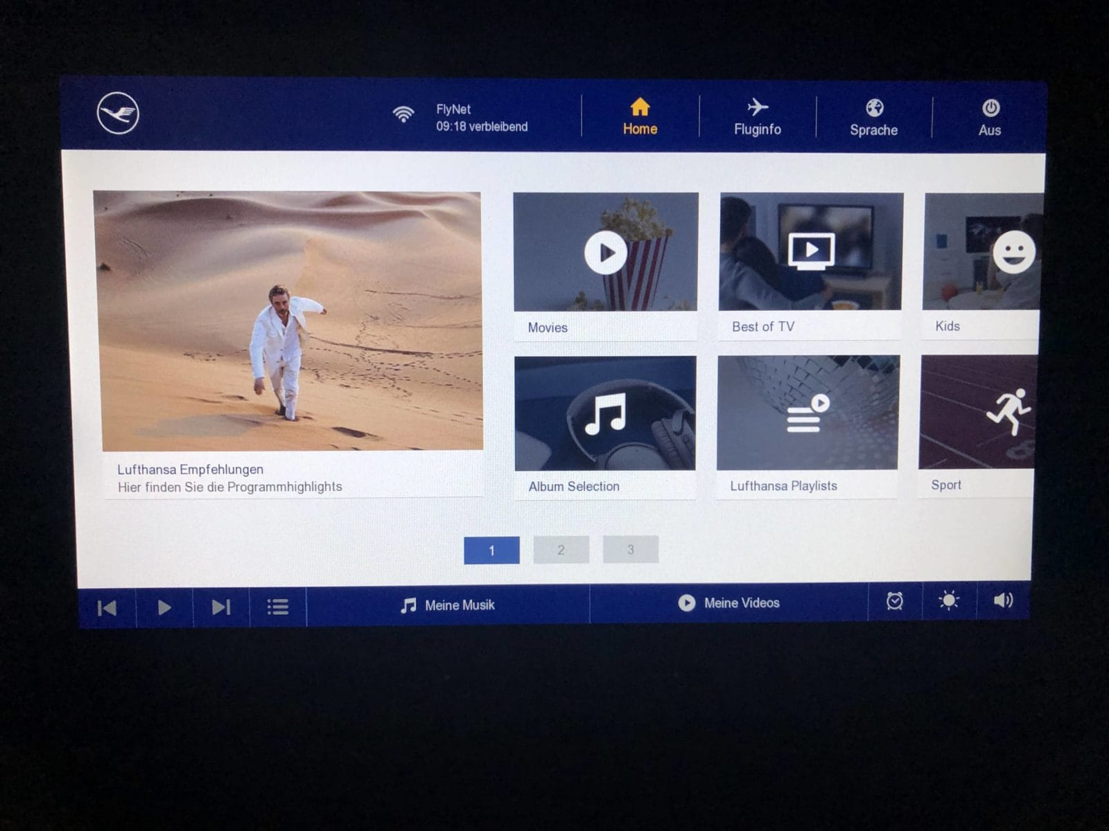 Lufthansa Premium Economy Entertainment Menue