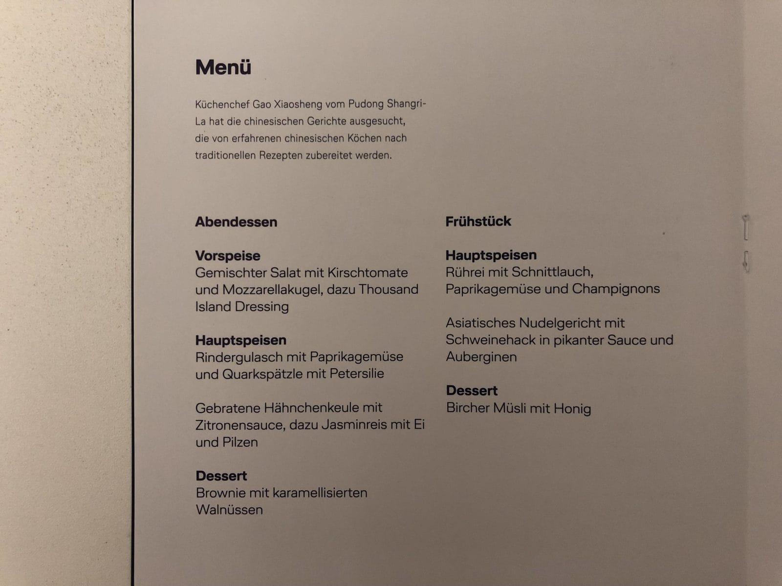 Lufthansa Premium Economy Menü Karte
