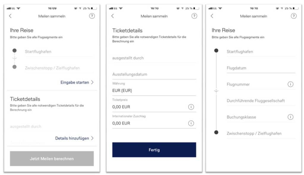 Der Miles & More Meilenrechner für das Sammeln von Meilen ist nur noch in der er Miles & More App verfügbar
