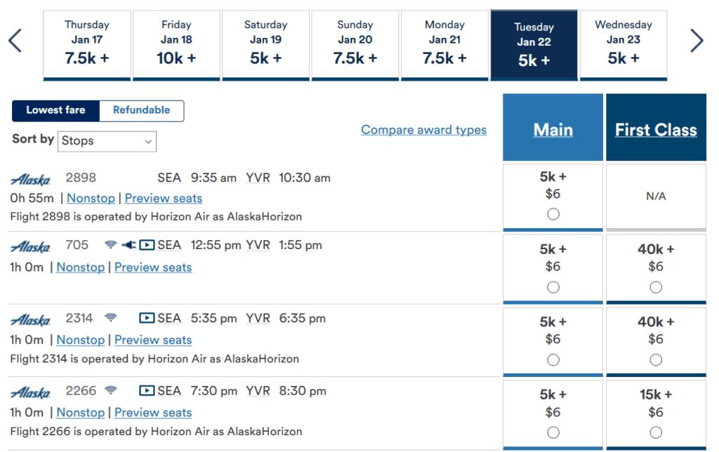 Für nur 5.000 Meilen in der Economy Class von Seattle nach Vancouver fliegen