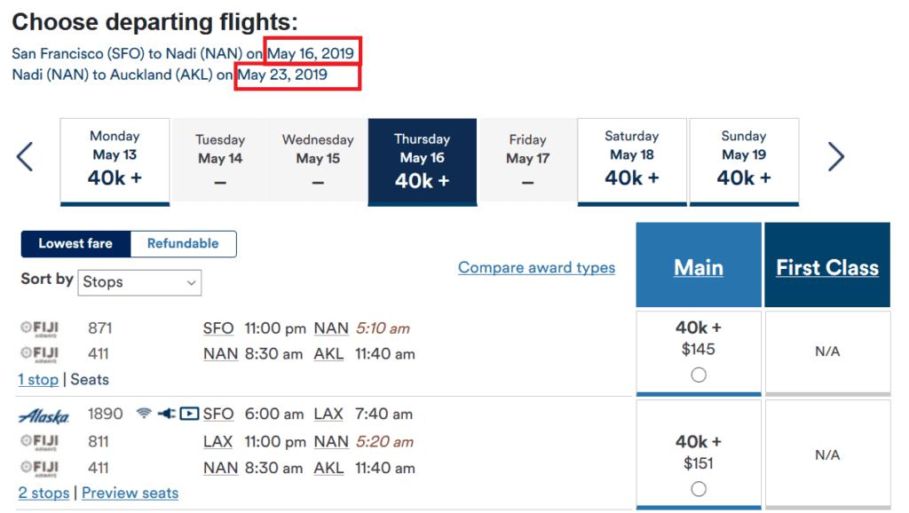 Für 40.000 Mileage Plan Meilen fliegt man mit Fiji Airways von San Francisco über Fiji nach Auckland und legt unterwegs einen Stopover frei wählbarer Länge ein