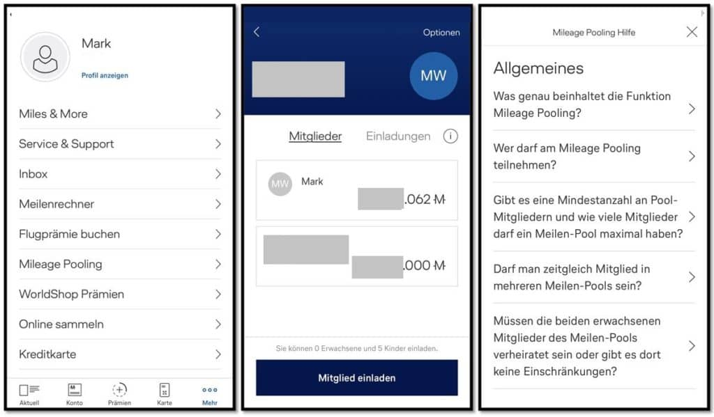 Miles & More Meilenpooling - Screenshots aus der Miles & More App