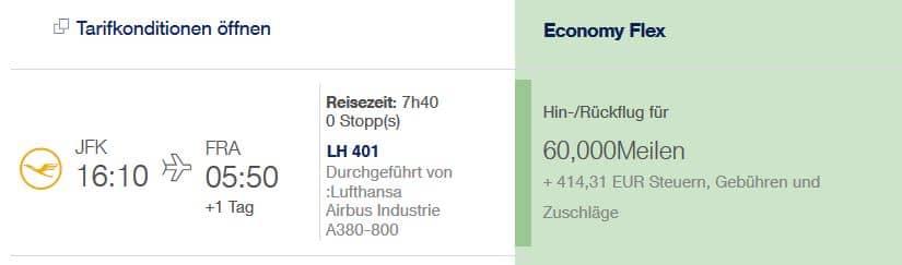 Miles & More Returnflug von Frankfurt nach New York und zurück