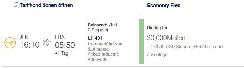 Miles & More Oneway Flugprämie von New York nach Frankfurt