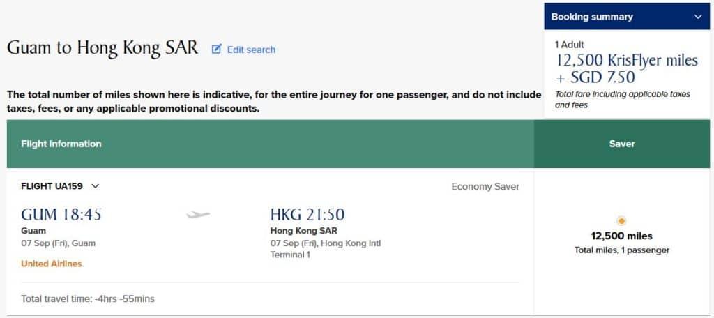 Für 12.500 KrisFlyer Meilen und 7,50 SGD von Guam nach Hongkong