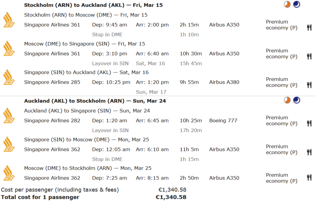 Miles & More Statusmeilen sammeln mit Singapore Airlines Premium Economy Flügen